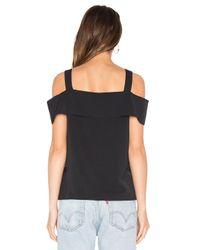 Tibi Black Strappy Off Shoulder Top