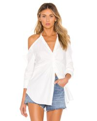Kendall + Kylie White Poplin Draped Tunic Top