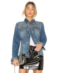 FRAME Blue Denim Le Studded Jacket