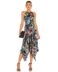 MILLY Black Joelle Tropical Palm Pleat Dress