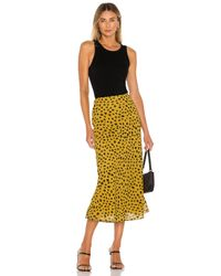 Lovers + Friends Yellow Madalena Midi Skirt