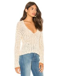 Free People - White Beach Comber V Neck Sweater - Lyst