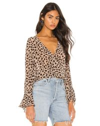 superdown Brown Madeline Surplice Top
