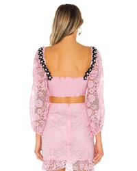 For Love & Lemons Pink Lafayette Crop Top