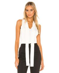 MILLY White Tie Neck Shell