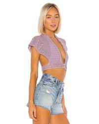 LPA Purple Crochet Crop Cardi