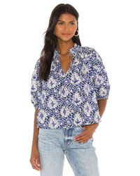 Free People Blue Willow Printed Blouse
