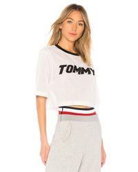 Tommy Hilfiger White X Gigi Hadid Racing Mesh Crop Top