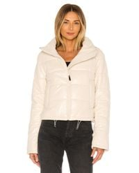 LTH JKT White Cay Cropped Leather Puffer Jacket