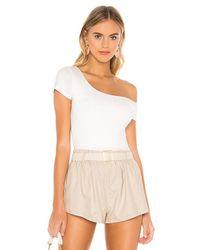 superdown White Felicia Asymmetrical Bodysuit