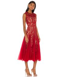 Bronx and Banco Red Saba Maroon Midi Dress