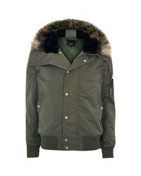 River Island Khaki Green Faux Fur Trim Hood Zip-up Jacket Khaki Green Faux Fur Trim Hood Zip-up Jacket for men