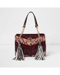 River Island Red Multi Snakeskin Tassel Chain Tote Bag