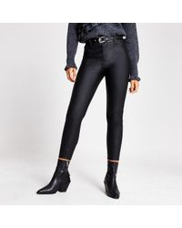 River Island Black Faux Leather Molly Belted Trousers