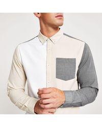 River Island Gray Grey Colour Block Slim Fit Oxford Shirt for men