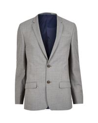 River Island Gray Grey Slim Suit Jacket for men