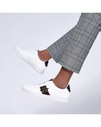 River Island White Wasp Embroidered Trainers for men