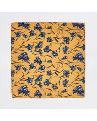 River Island Yellow Floral Handkerchief for men