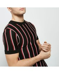River Island Black And Red Stripe Slim Fit T-shirt for men