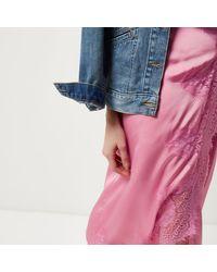 River Island Pink Scalloped Eyelash Lace Midi Wrap Skirt