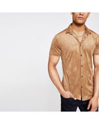 River Island Natural Faux Suede Slim Fit Shirt for men