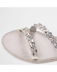 River Island Metallic Gold Jewel Strap Jelly Sandals