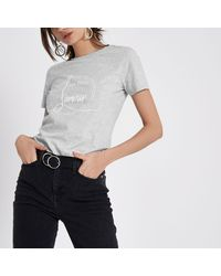 River Island Gray Grey Marl 'l'amour' Print Fitted T-shirt