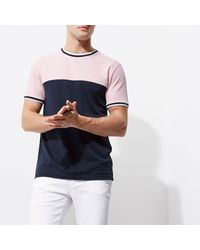 River Island - Pink Colour Block Tipped Slim Fit T-shirt for Men - Lyst