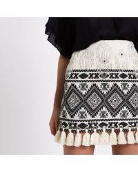 River Island Multicolor Embroidered Tassel Hem Mini Skirt