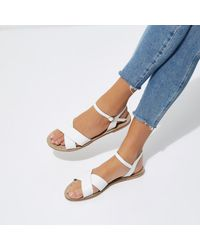 River Island - White Cross Strap Leather Sandals - Lyst