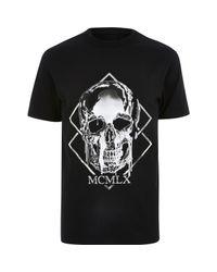 River Island Black Big And Tall Skull Print Slim Fit T-shirt for men