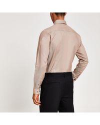 River Island Natural Slim Fit Long Sleeve Shirt for men