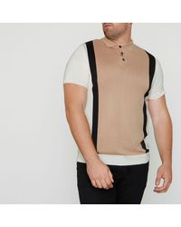 River Island Natural Big And Tall Blocked Knitted Polo Shirt for men