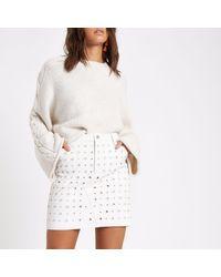 River Island Natural Circle Faux Leather Mini Skirt