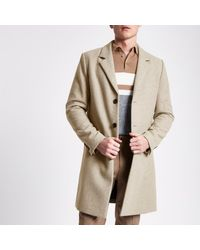 River Island Multicolor Stone Wool Blend Overcoat Stone Wool Blend Overcoat for men