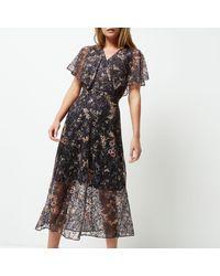 River Island Gray Floral Lace Frill Cape Midi Wrap Dress