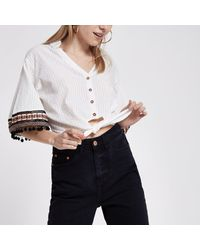 River Island Natural Petite Cream Embroidered Crop Top