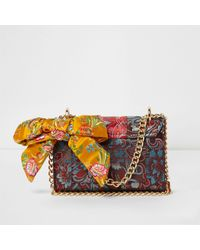 River Island Red Floral Jacquard Satin Scarf Crossbody Bag Red Floral Jacquard Satin Scarf Crossbody Bag
