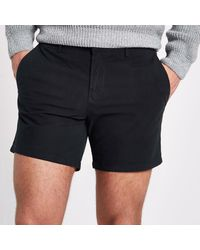 River Island - Blue Navy Slim Fit Chino Shorts - Lyst