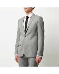 River Island Gray Light Grey Skinny Suit Jacket for men