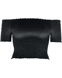 River Island Black Shirred Velvet Bardot Crop Top