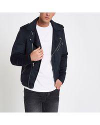 River Island - Blue Faux Suede Biker Jacket for Men - Lyst