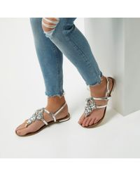 River Island - Silver Metallic Embellished Flat Sandals - Lyst