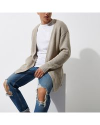 River Island - Multicolor Stone Knit Slouch Cardigan for Men - Lyst