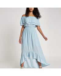 River Island Blue Bardot Frill Hem Maxi Dress