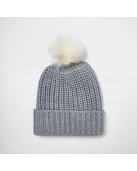 River Island Gray Grey Knit Bobble Hat