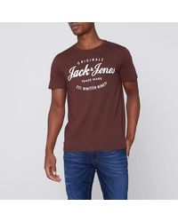 d37c4101ea9b River Island. Men's Dark Red Jack & Jones Print Crew Neck T-shirt ...