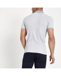 River Island Gray Grey Textured Ribbed Muscle Fit Polo Shirt for men