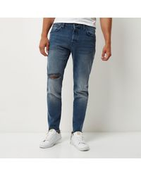 River Island Mid Blue Wash Jimmy Slim Tapered Jeans for men