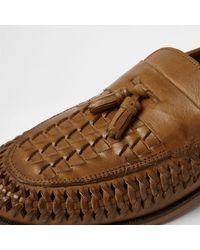 River Island - Brown Tan Leather Woven Tassel Loafers Tan Leather Woven Tassel Loafers - Lyst